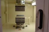 Hydraulic lab press used for pressing test plates of Trespa